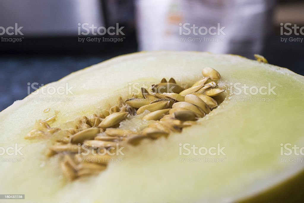Seeds in a Sliced Honeydew Melon royalty-free stock photo