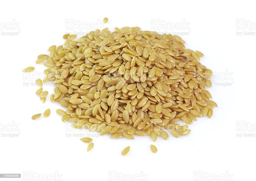 Seeds of flax on white background royalty-free stock photo