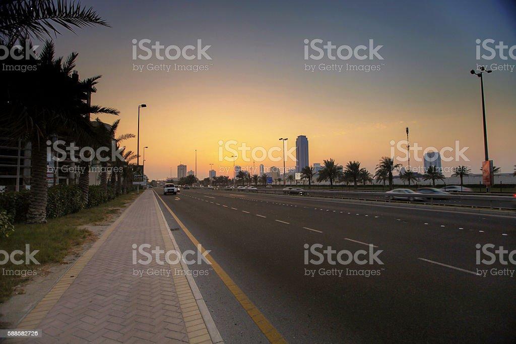 seef sunset stock photo