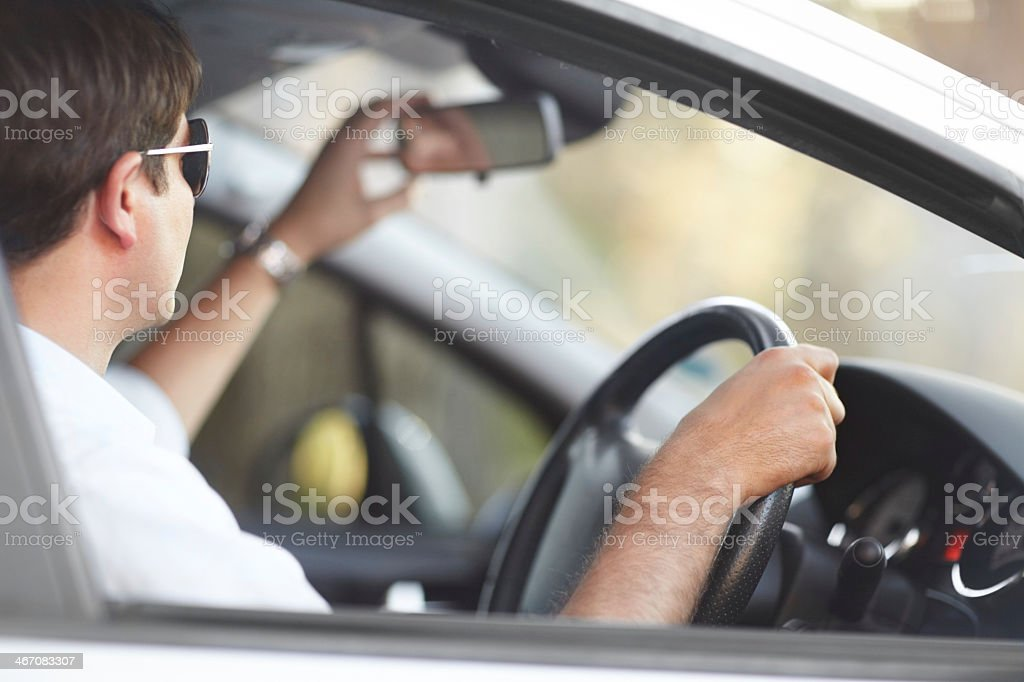 Seeing the road behind him royalty-free stock photo