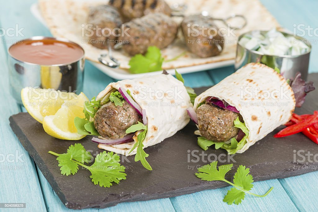 Seekh Kebab Wrap stock photo