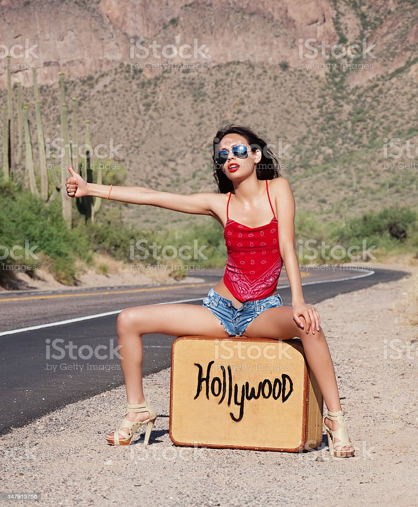 Seeking fame and fortue in Hollywood. stock photo