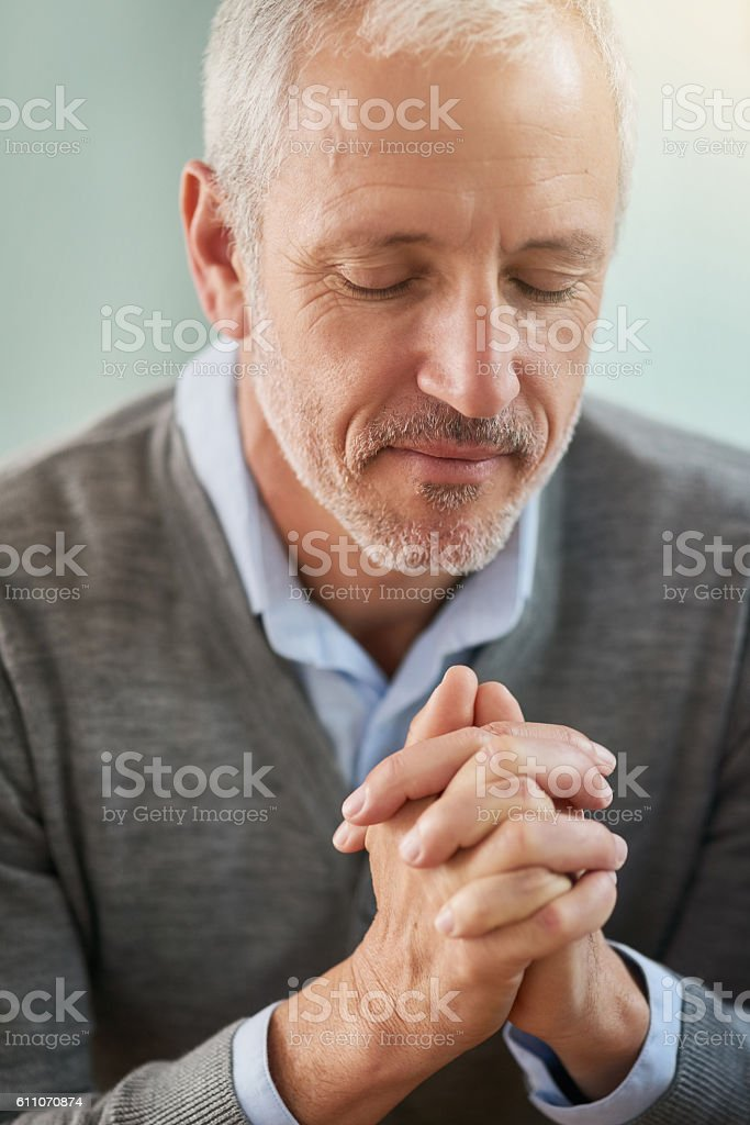 Seeking guidance from above stock photo