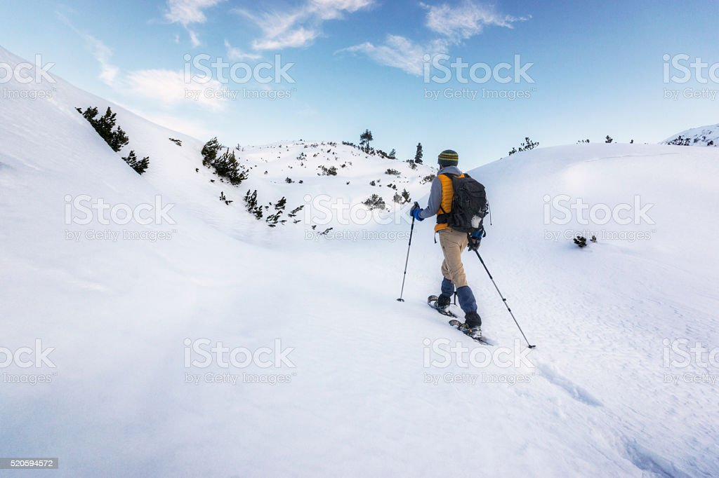 Seeking Peace and Quiet High in the Alps stock photo
