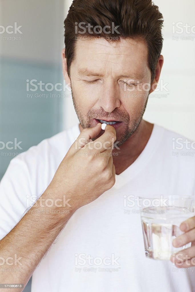 Seeking relief from sickness stock photo