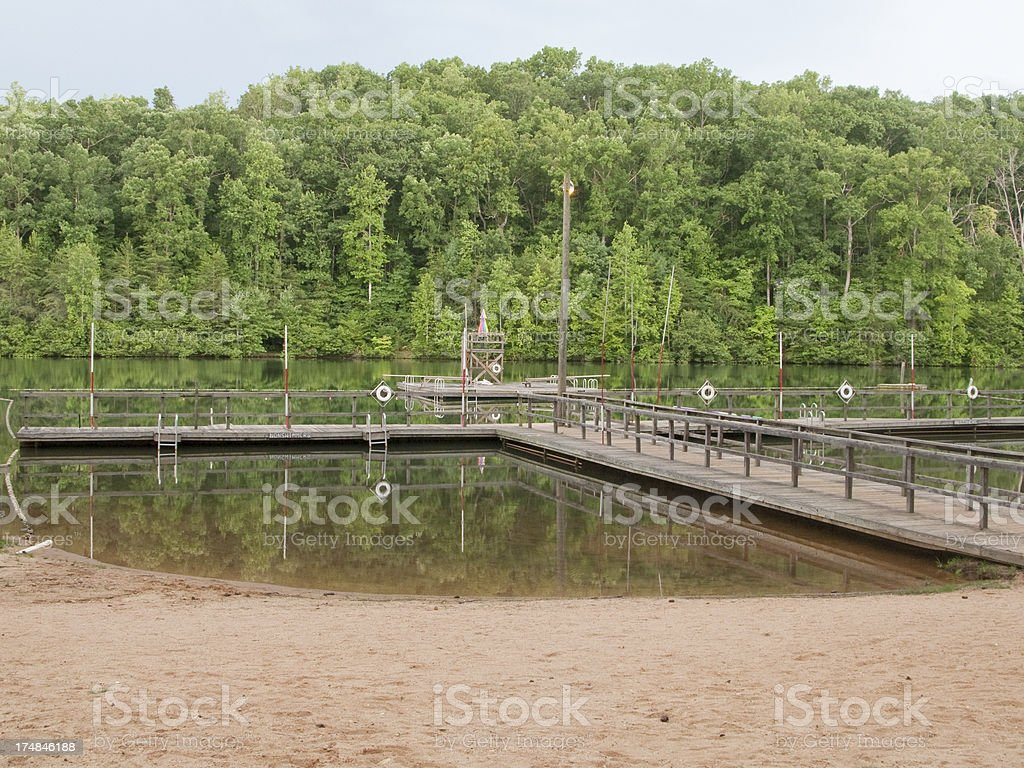 Seen here is a Swimming Waterfront At Summer Camp royalty-free stock photo