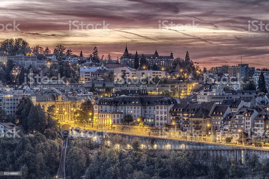 Seen on the city of Fribourg-Switzerland stock photo