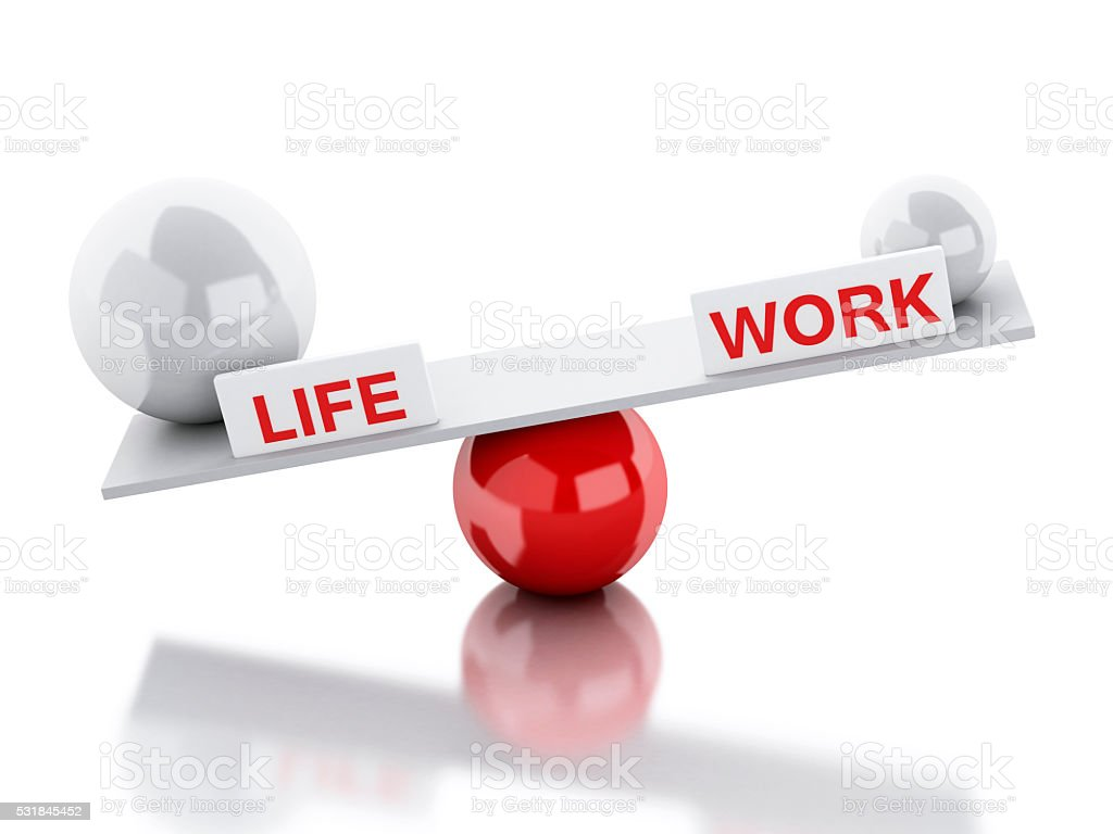 Seesaw balance life and work stock photo