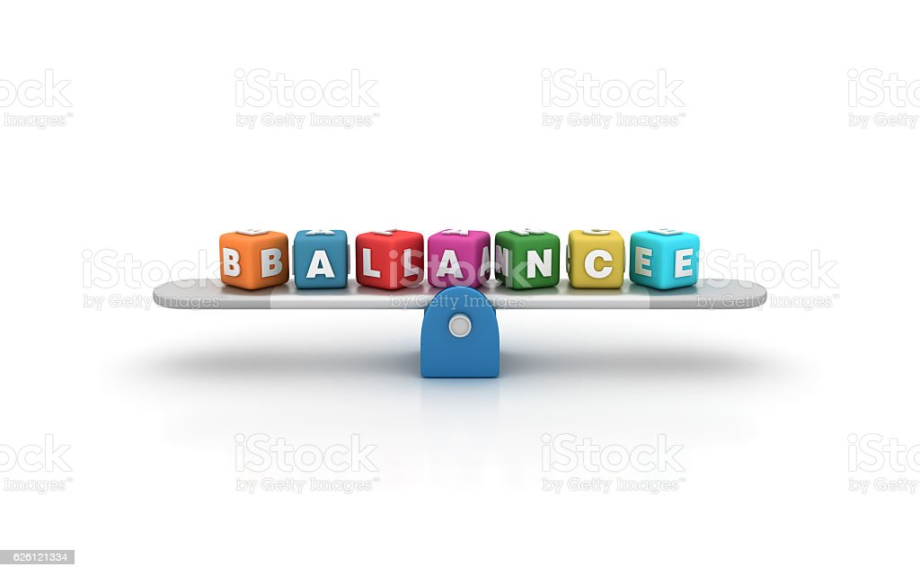 Seesaw with Balance Buzzword Cubes - 3D Rendering stock photo
