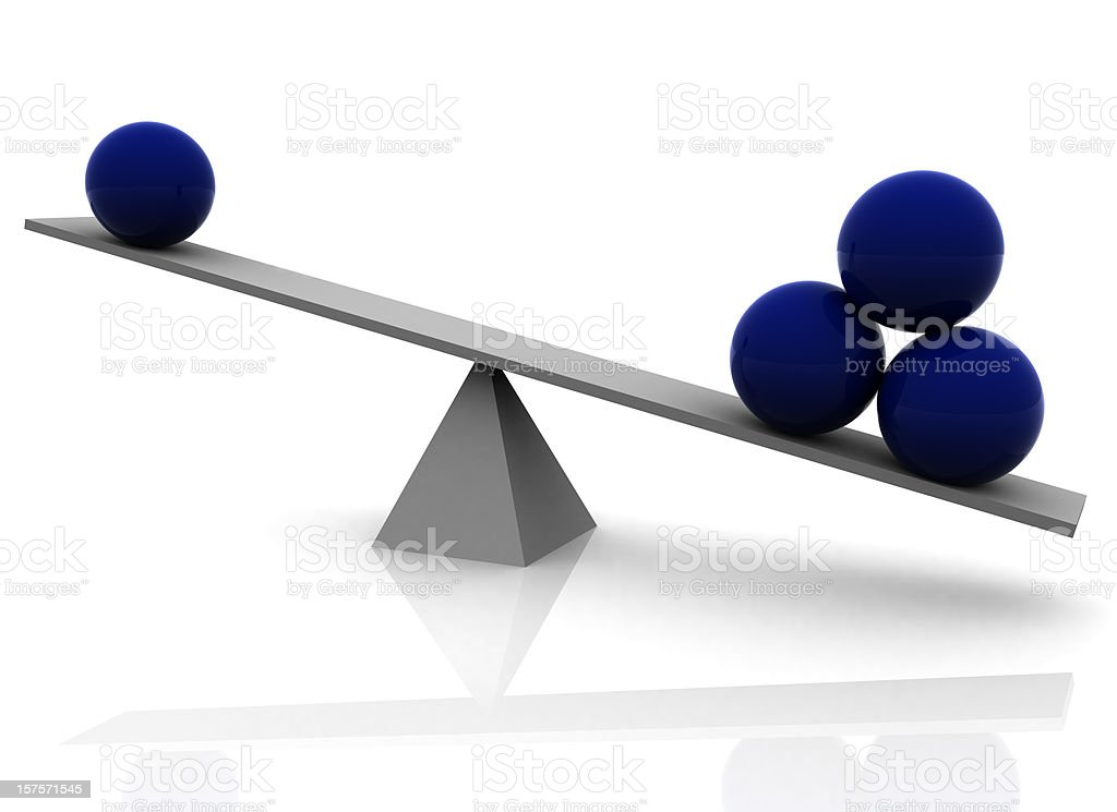 Seesaw with Blue Spheres, Balance Concept royalty-free stock photo