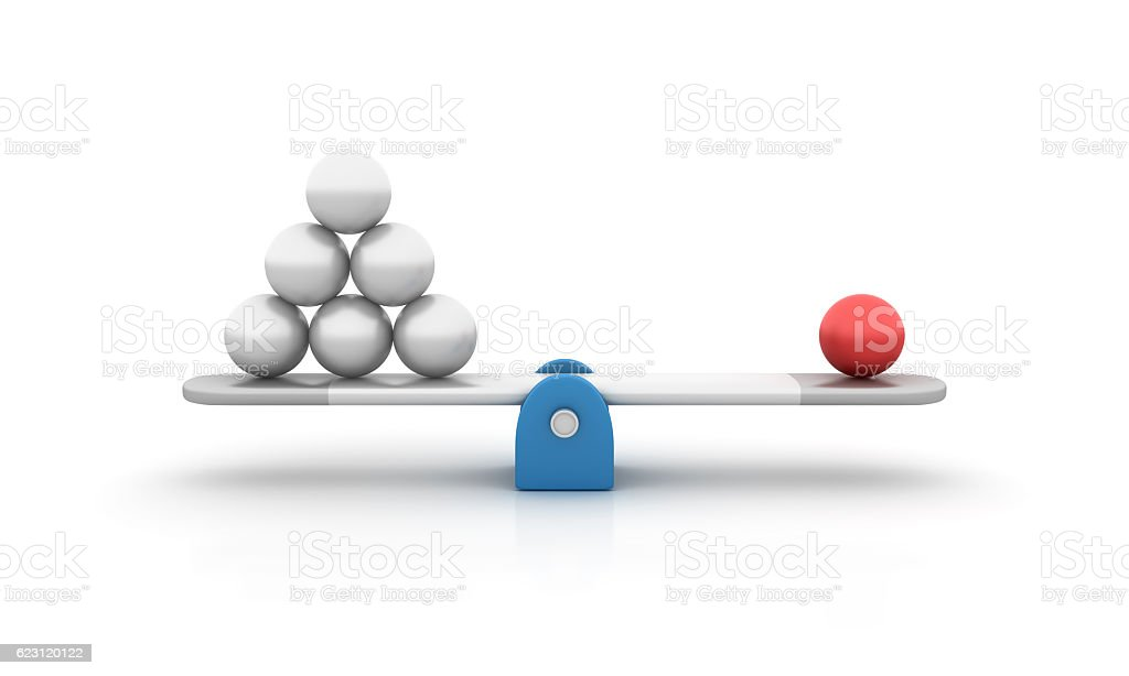 Seesaw with pheres - 3D Rendering stock photo