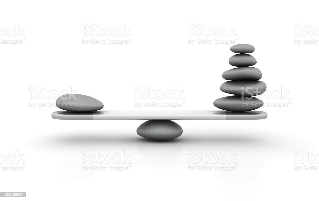 Seesaw with Stone Pebbles - 3D Rendering stock photo