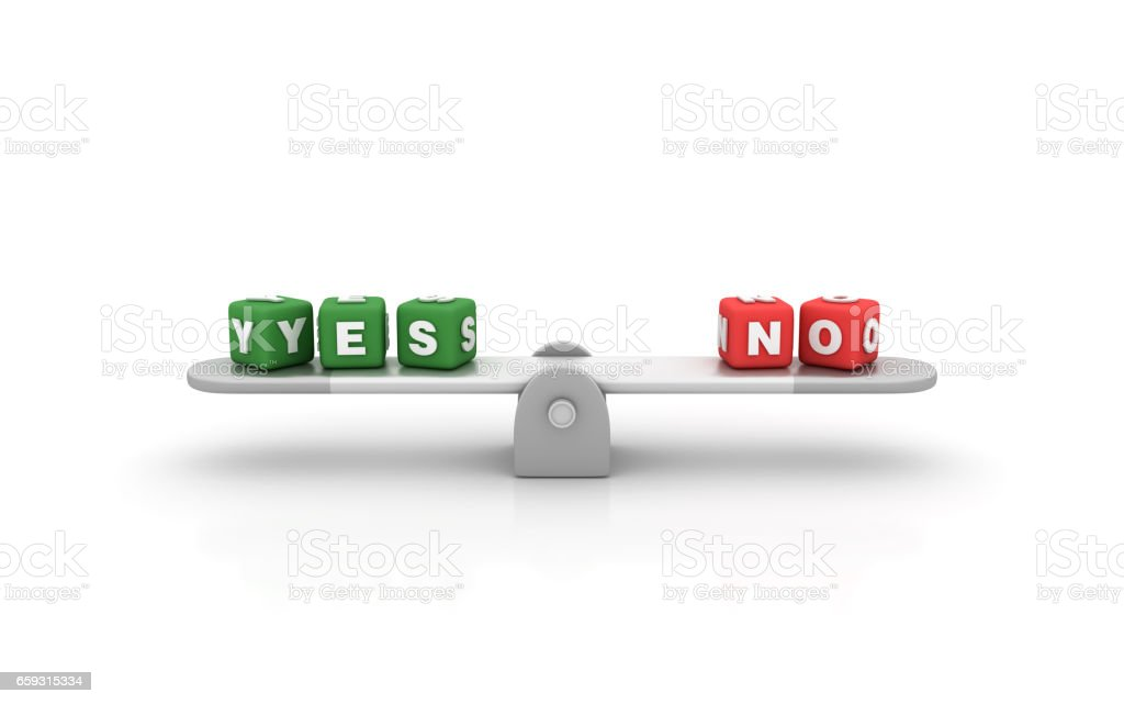 Seesaw with Yes No Cubes - 3D Rendering stock photo