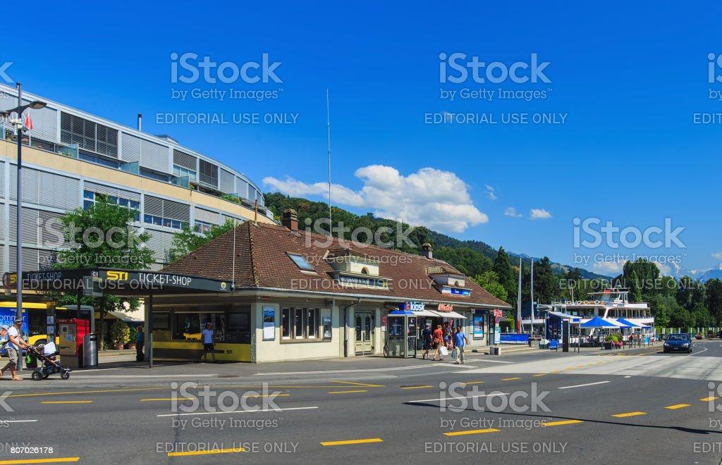 Seestrasse street in the city of Thun, Switzerland stock photo