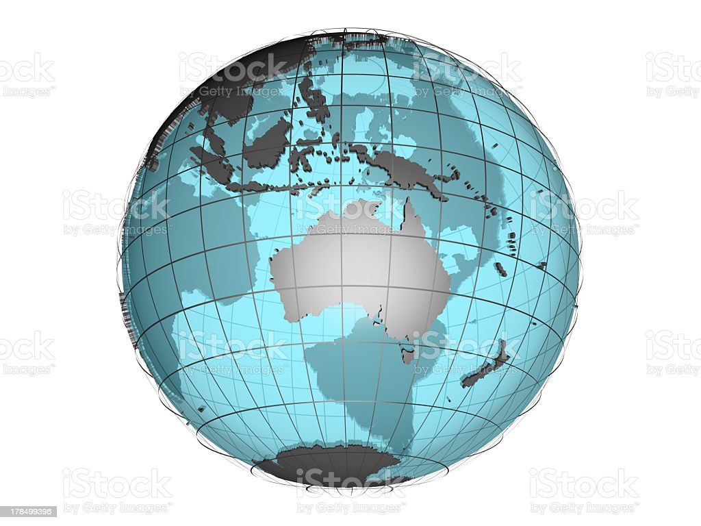 See-through 3d globe model showing Australia and Oceania stock photo
