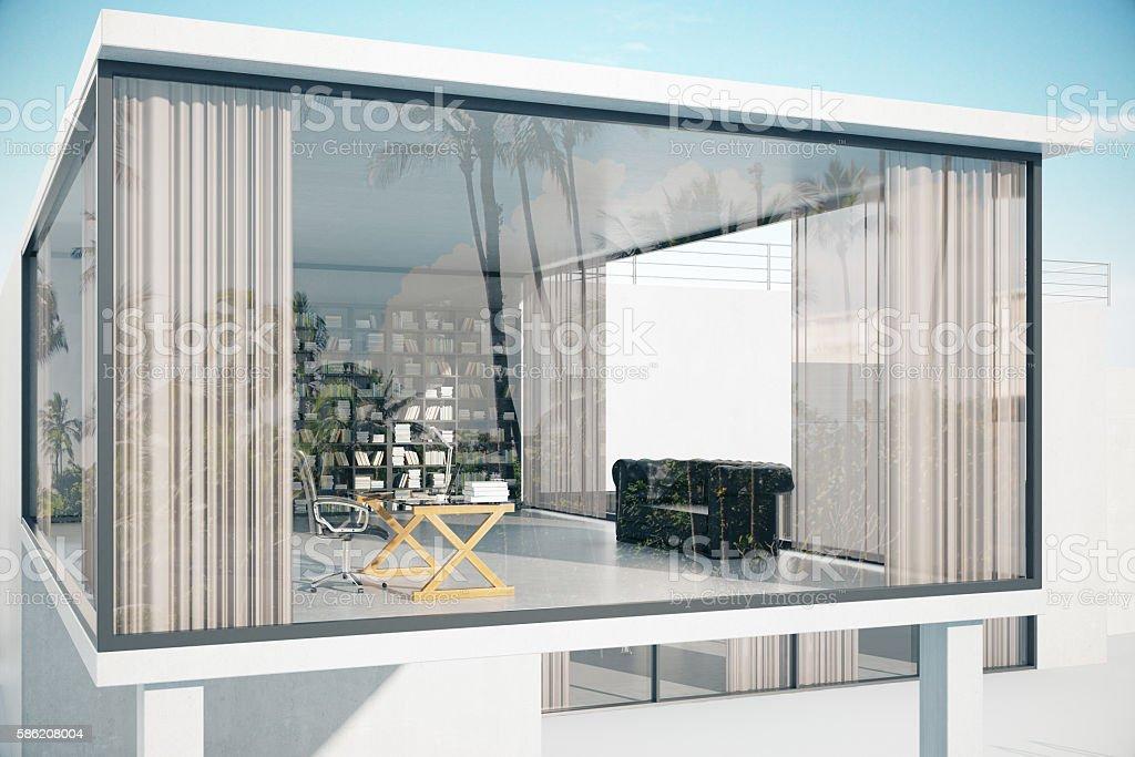 See-through house exterior stock photo