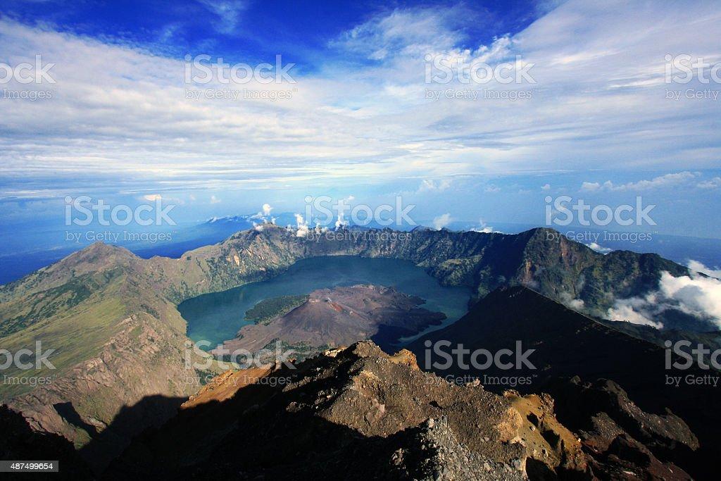 Segara Anak Lake stock photo