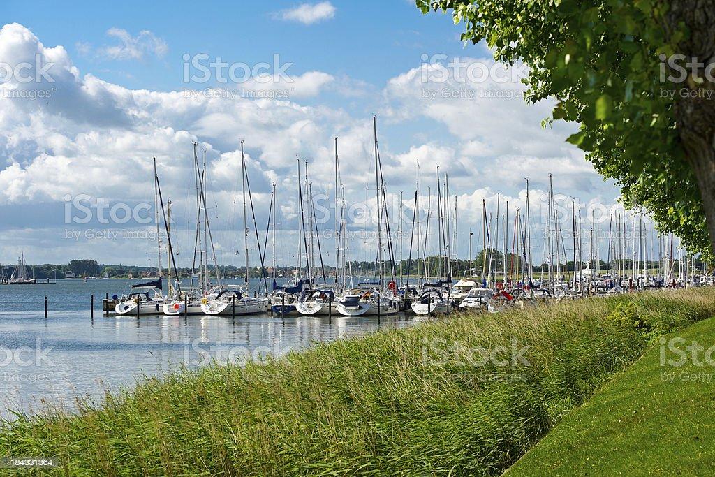 Segelboote im Yachthafen in Kappeln stock photo