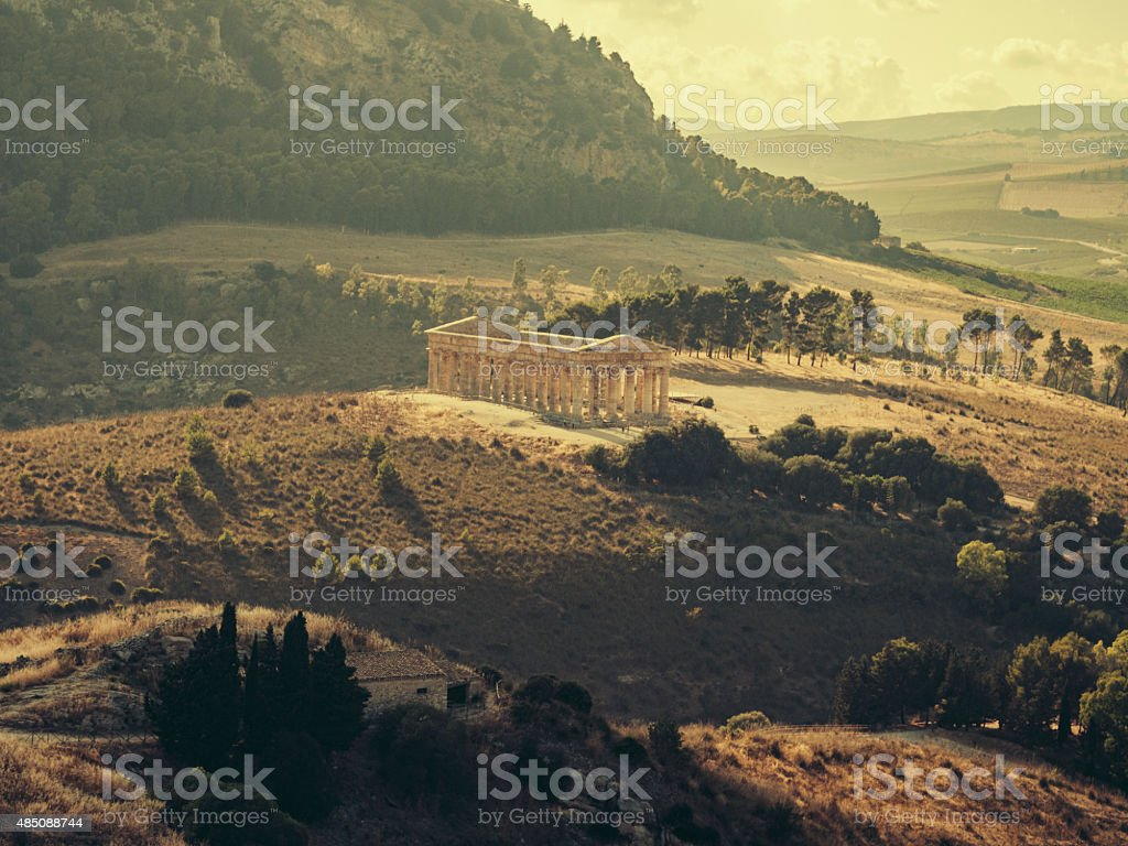 Segesta Greek temple in Sicily. Italy stock photo