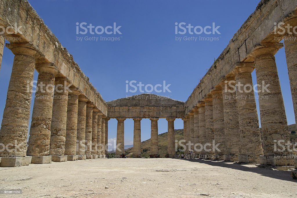 Segesta Greek temple in Sicily (Italy) stock photo