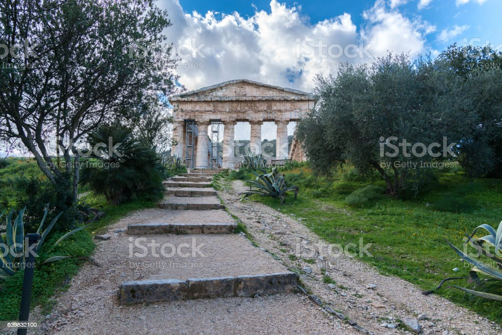 Segesta temple stock photo