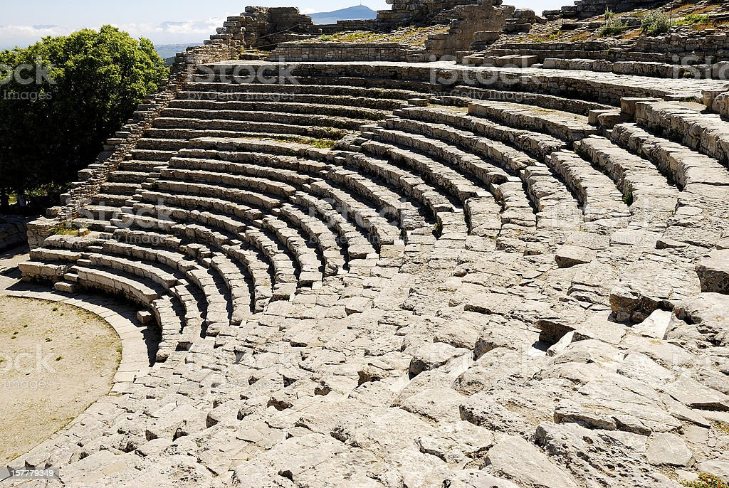 Segesta (Sicily) - The theater royalty-free stock photo