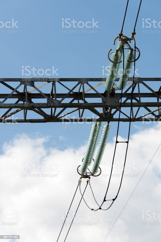 Segment power pole against the sky with clouds. stock photo