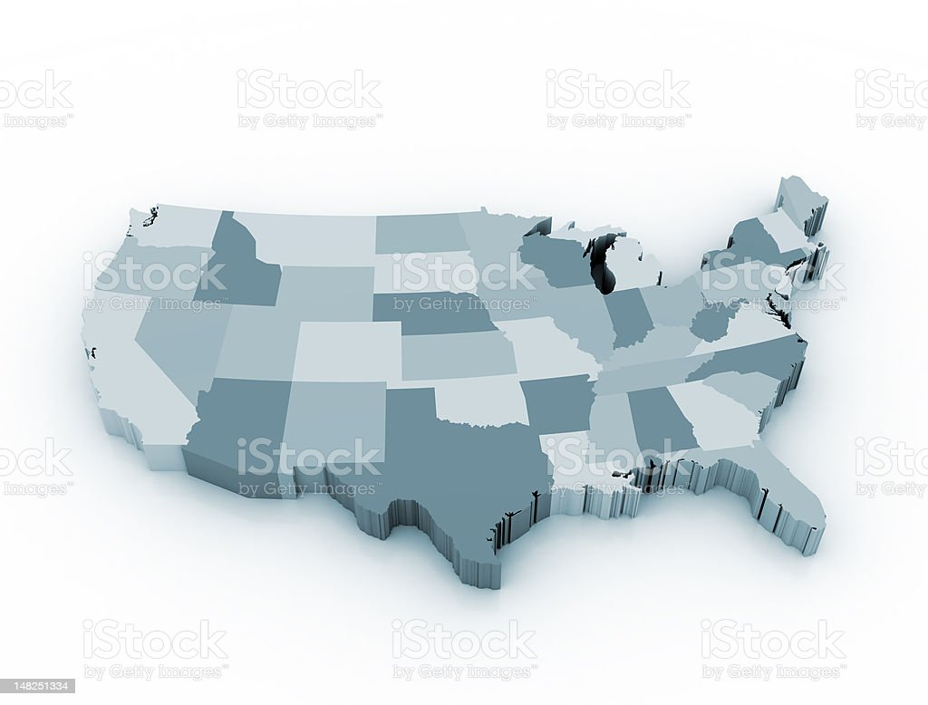 A segmented map of the United States stock photo