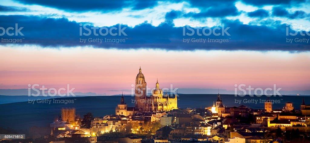 Segovia al Anochecer / Segovia at dusk stock photo