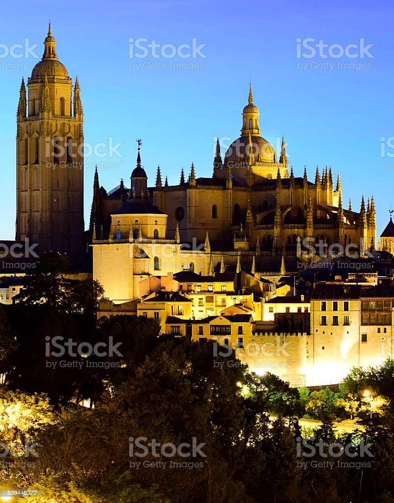 Segovia. Night Segovia Cathedral and the Jewish Quarter (Spain) stock photo