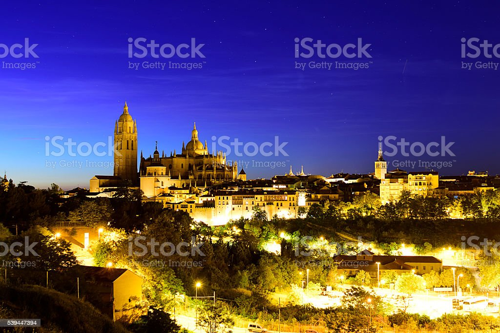Segovia. Night Segovia Cathedral and the Jewish Quarter (Spain) stock photo