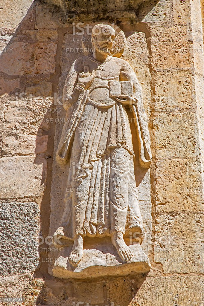 Segovia - relief of apostle on facade of romanic church stock photo