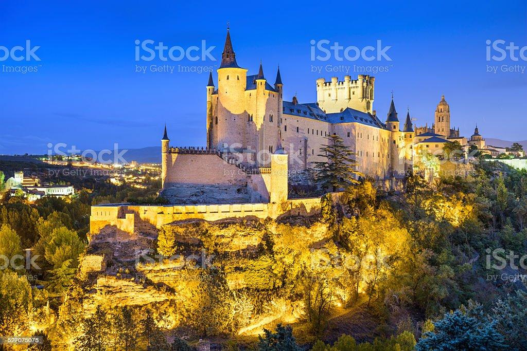Segovia, Spain Alcazar at Night stock photo