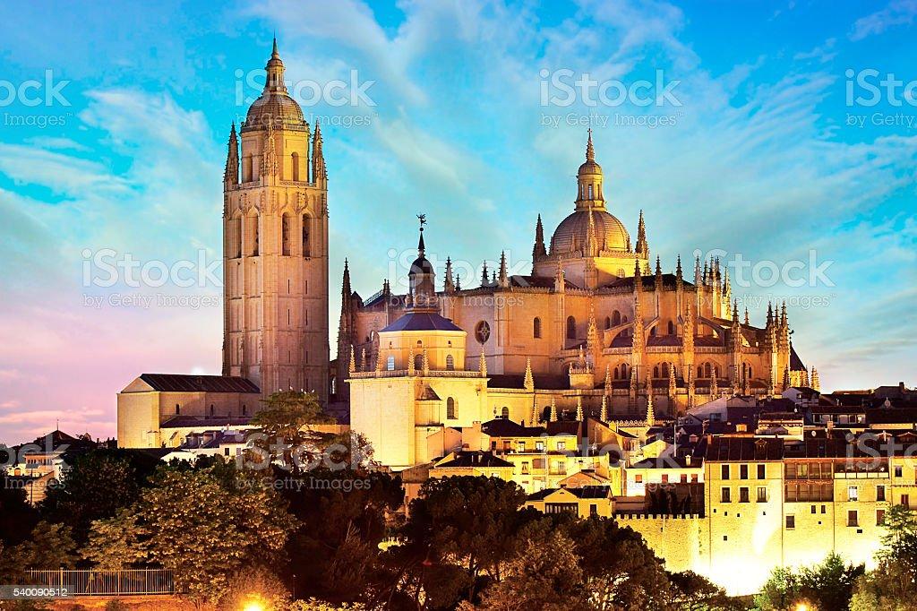 Segovia, Spain. Gothic-style Roman Catholic cathedral stock photo