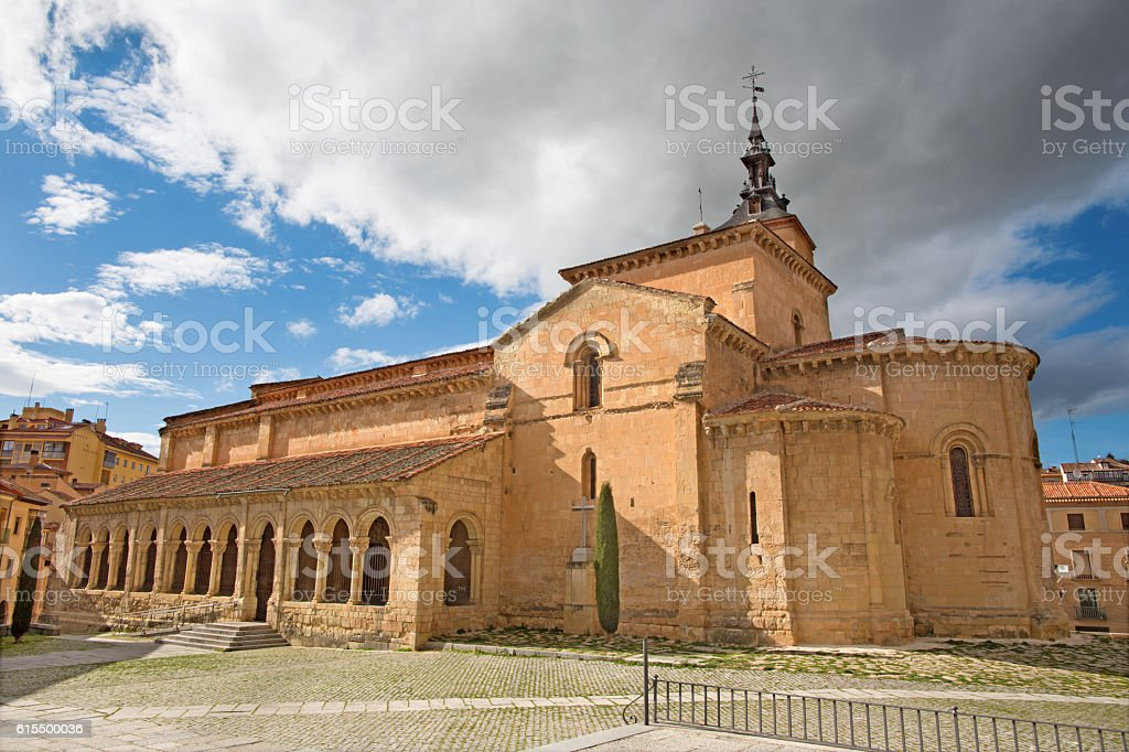 Segovia - The Ronanesque church Iglesia de San Millan. stock photo