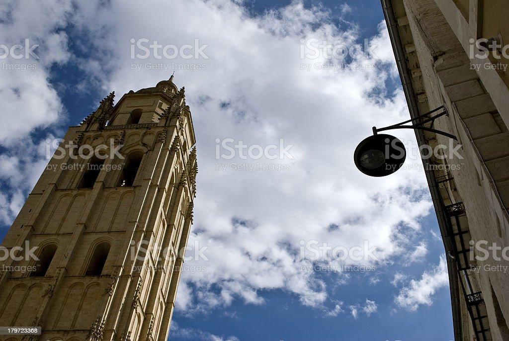 Segovia torre de la catedral stock photo