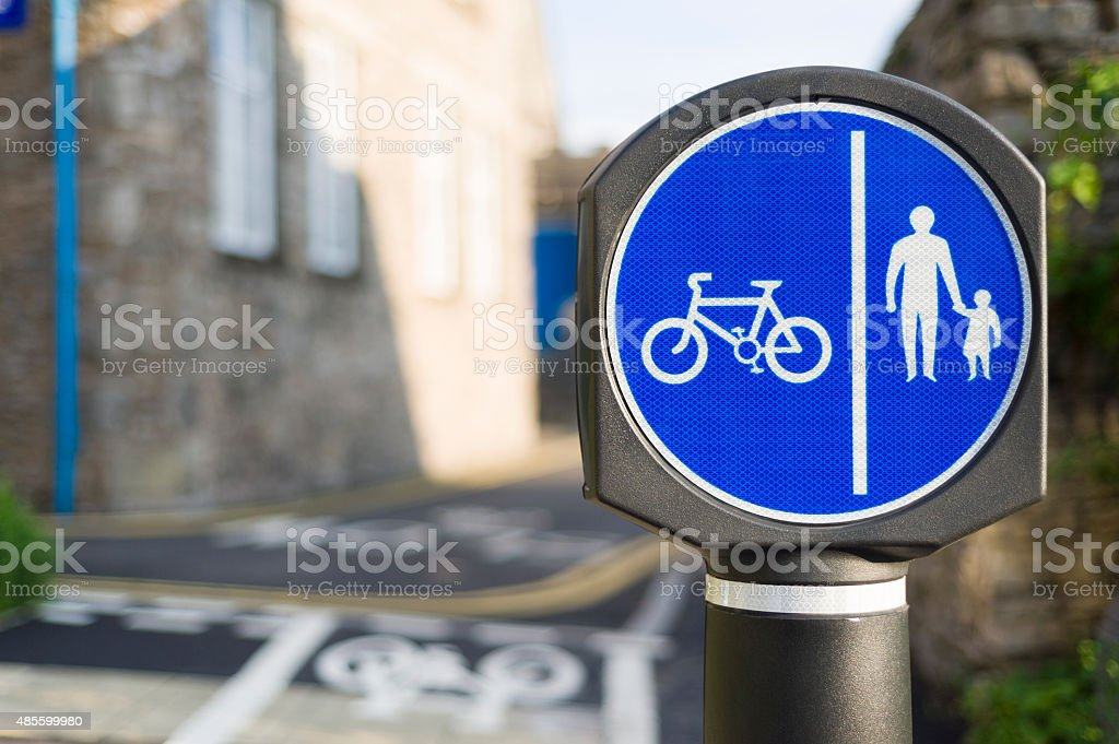 Segregated shared-use route for cyclists and pedestrians stock photo