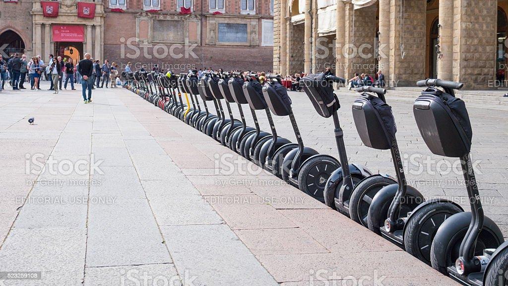 Segway in Piazza Maggiore stock photo