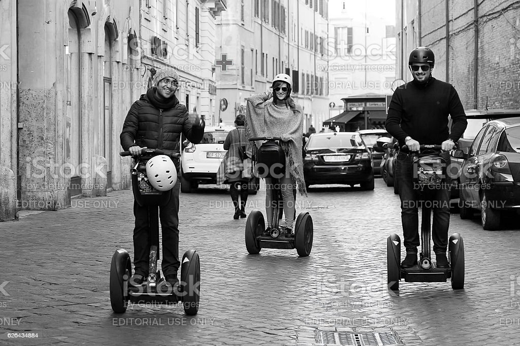 Segway in town in Rome stock photo