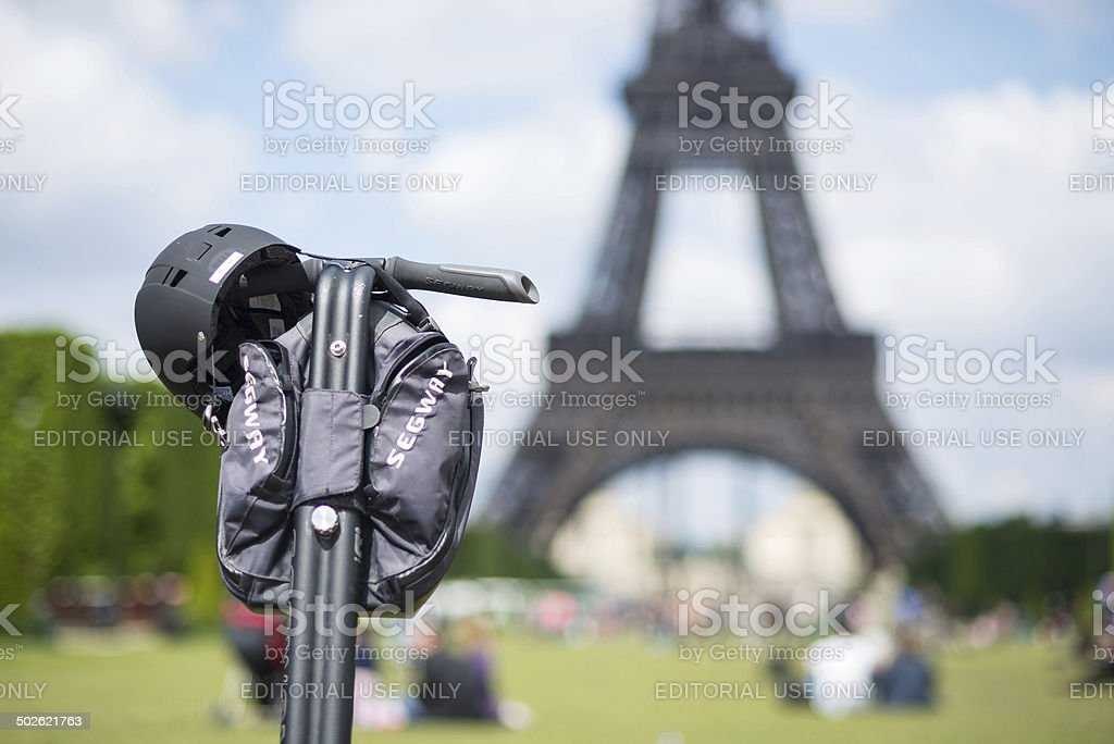 Segway parked in front the Eiffel Tower. stock photo