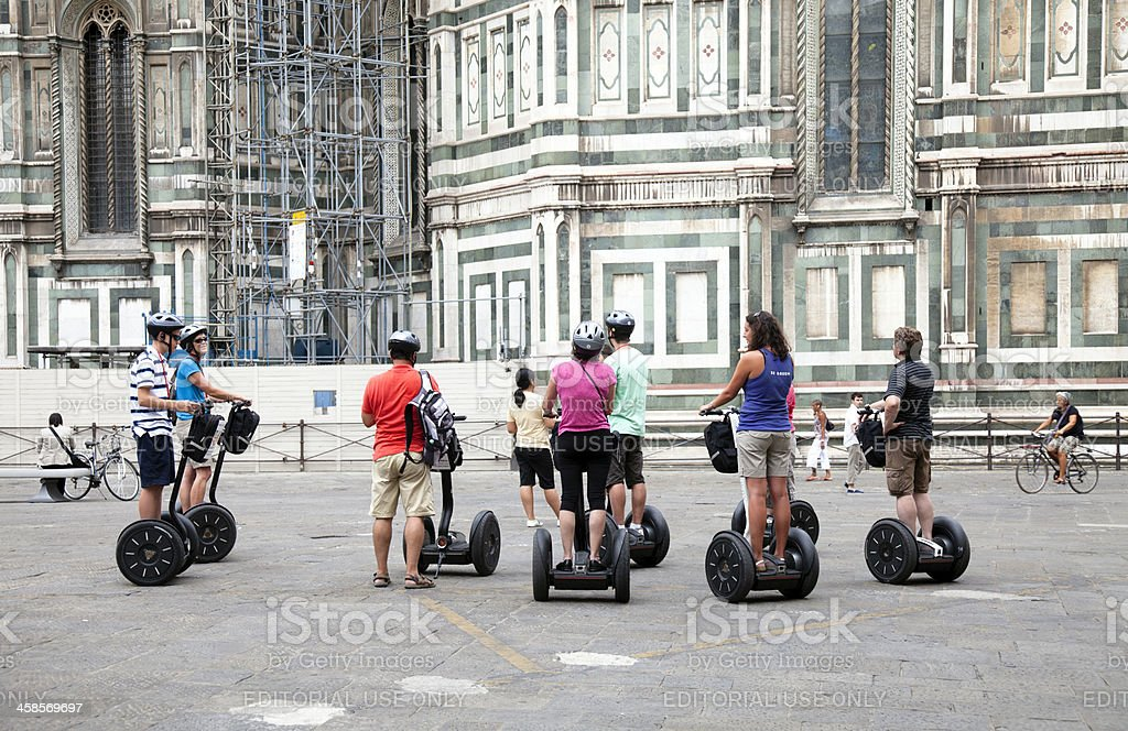 Segways riders in Firenze royalty-free stock photo