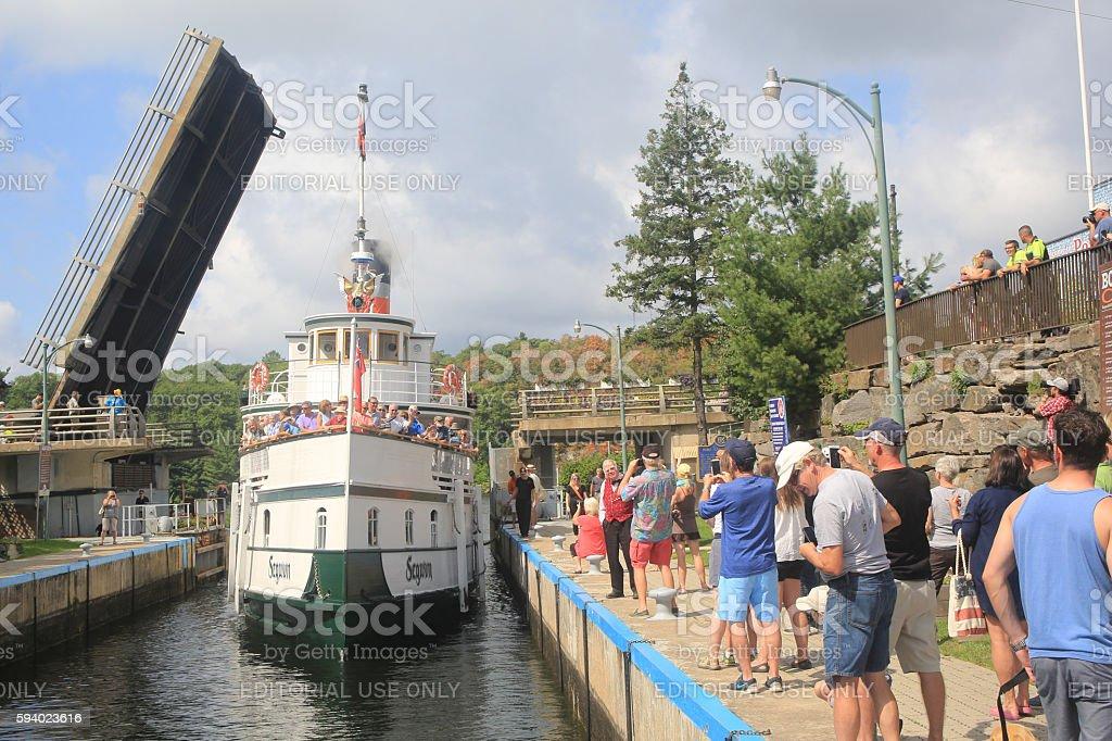Segwun Entering the Port Carling Locks stock photo