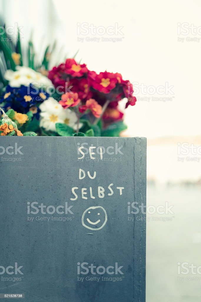 sei du selbst - be yourself stock photo