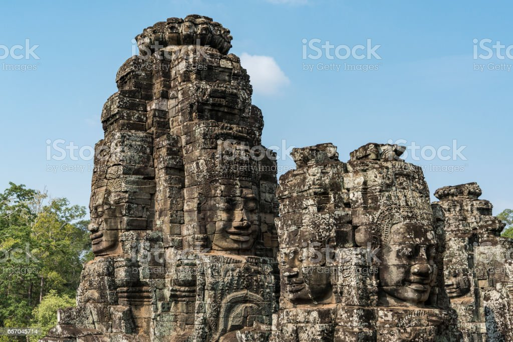 Seim Reap Angkor Thom or 'Great City' Faces Bayon style stock photo