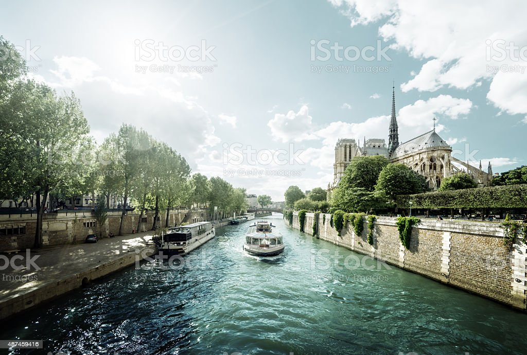 Seine and Notre Dame de Paris, Paris, France stock photo