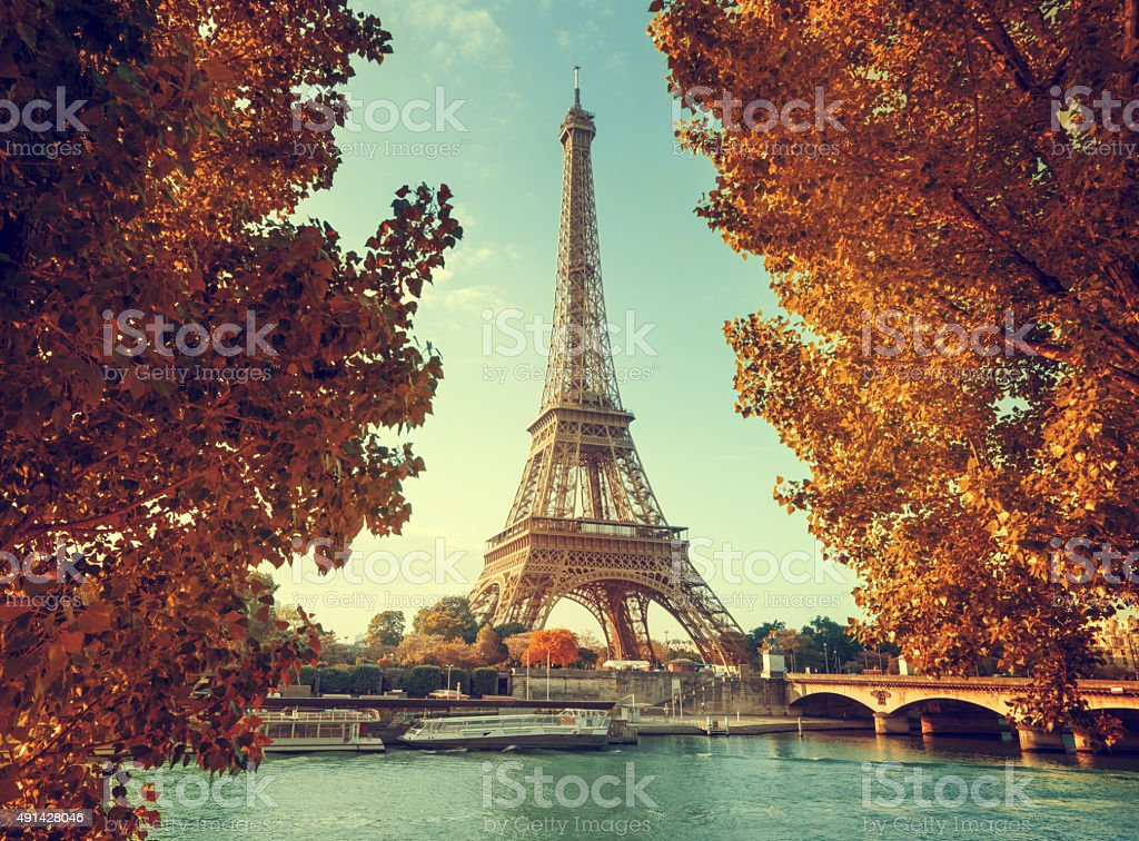 Seine in Paris with Eiffel tower in autumn time stock photo