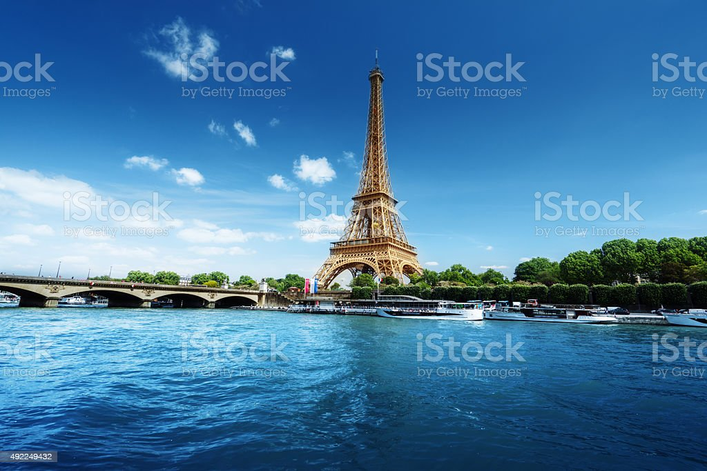 Seine in Paris with Eiffel tower in morning time stock photo