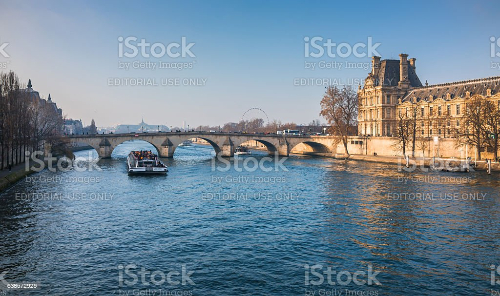 Seine River and Louvre museum stock photo