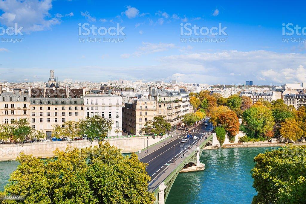Seine river and Pont de Sully, Paris, France stock photo