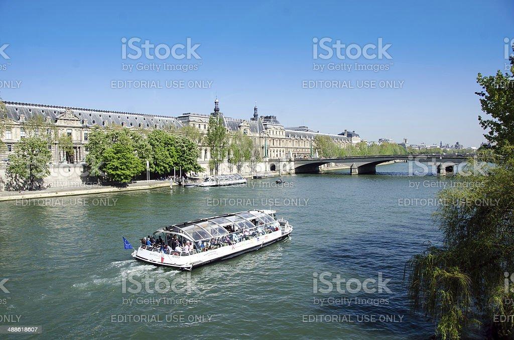 Seine River Bridge and Tour Boat, Paris royalty-free stock photo